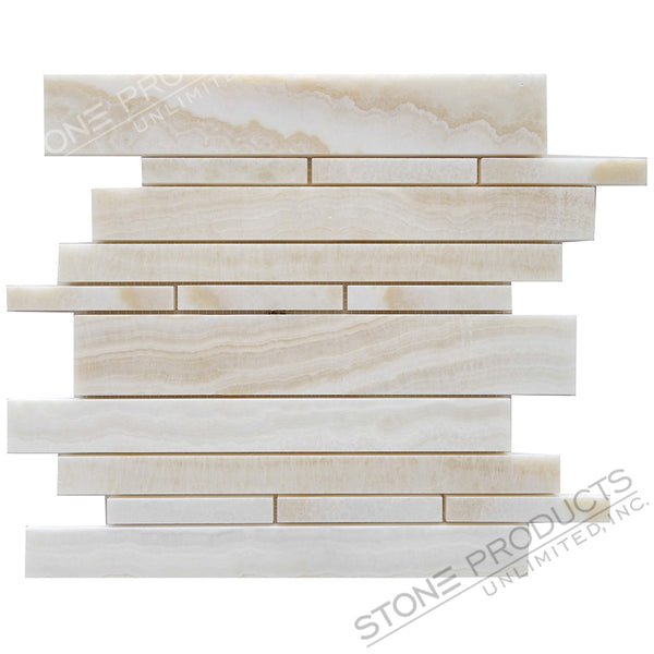 White Onyx Polished Vein Cut Mosaic Linear Offset