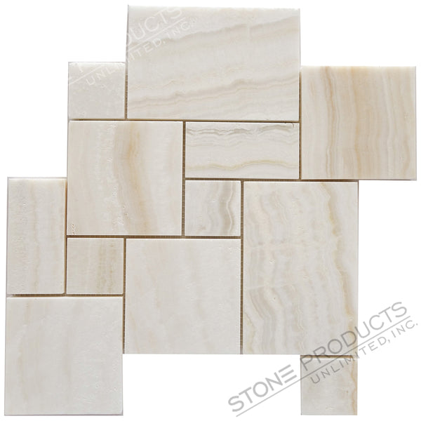 White Onyx Polished Vein Cut Mini Pattern 12x12