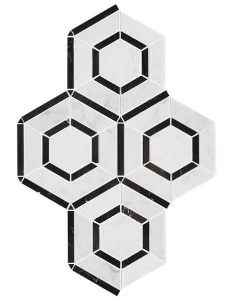 Outlined Hex Mixed Marble Mosaic