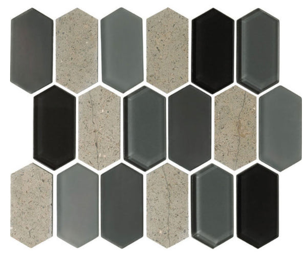 Alair Smoke Glass & Stone Mosaic