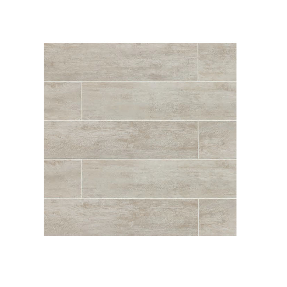 "Porcelain 8"" x 48"" Rectangle River Wood Look Tile Blanc"