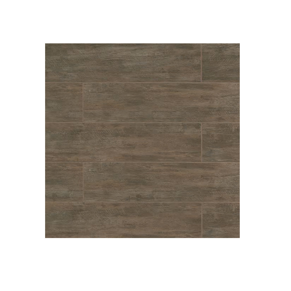 "Porcelain 8"" x 48"" Rectangle River Wood Look Tile Walnut"