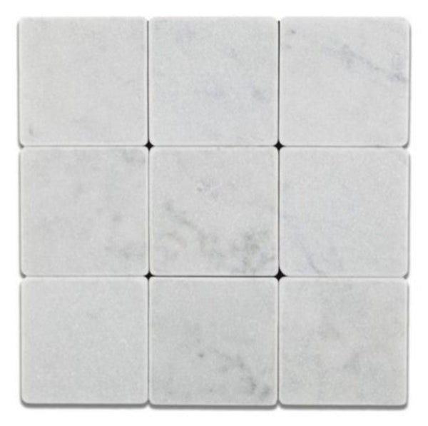 Carrara White Marble Square Tile Tumbled 4x4