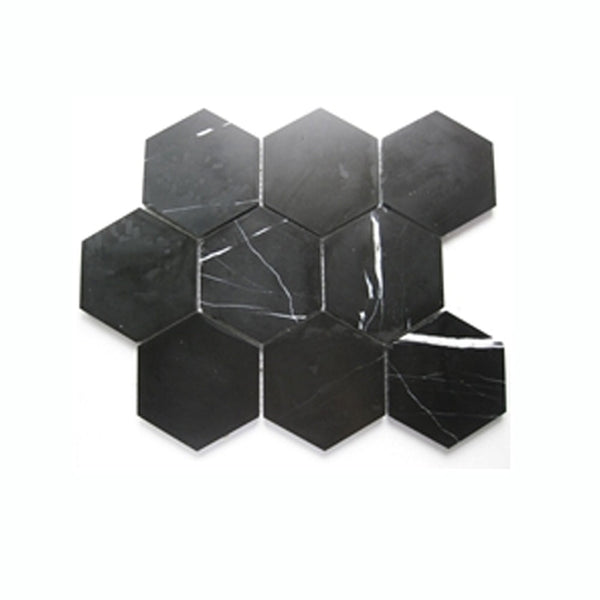Nero Marquina Marble Hexagon Tile 10x10 Honed