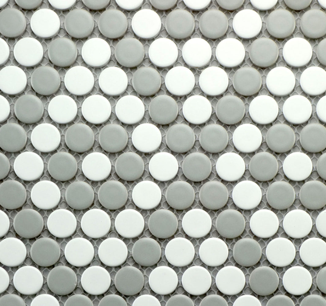 Grey & White Matte Porcelain Penny Round Mosaic