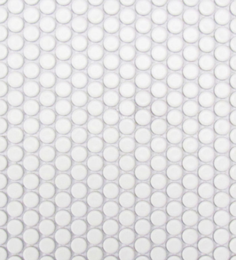 White Matte Porcelain Penny Round Mosaic