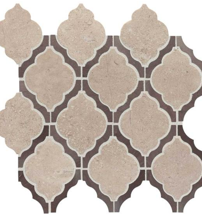 Earnest Beige Arabesque Marble Mosaic