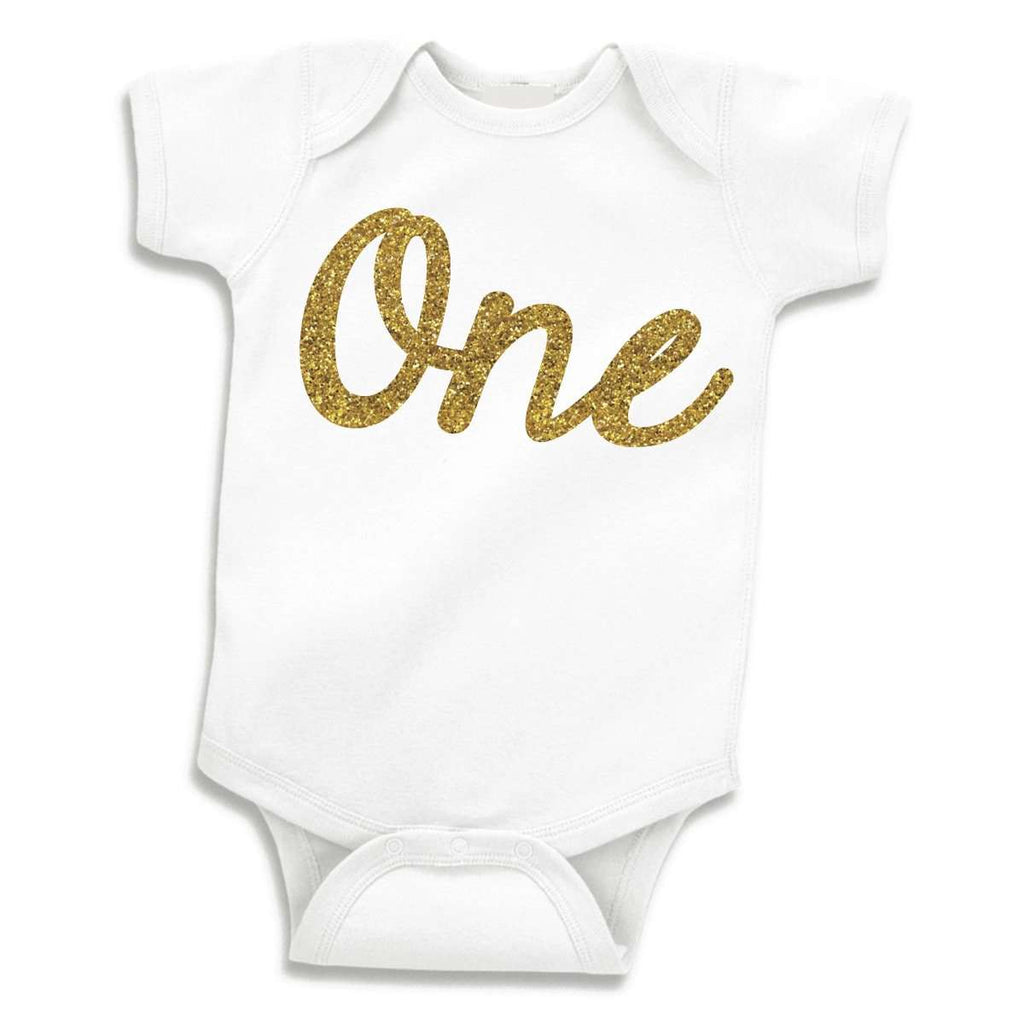 First Birthday Girl Bodysuit, Glitter Gold One 1st Birthday Outfit for Girls