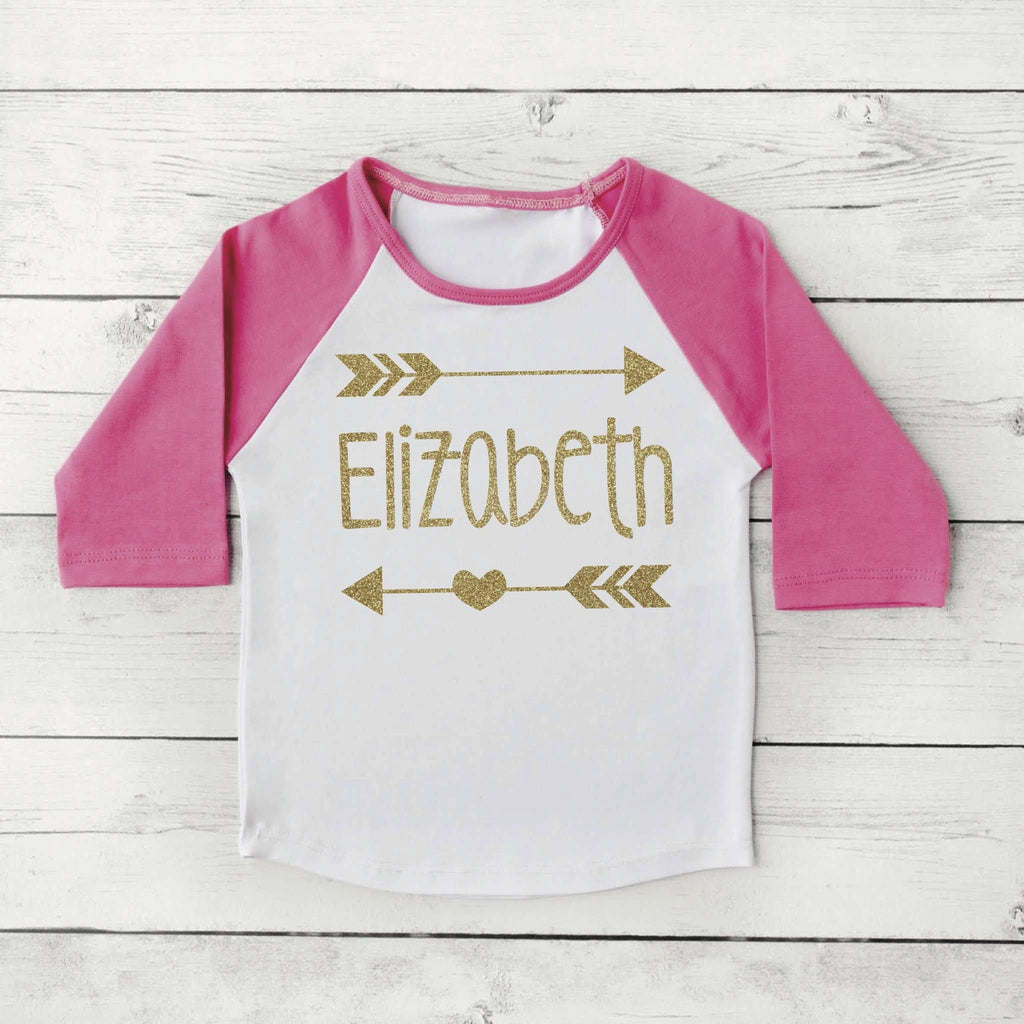 Hipster Baby Clothes Baby Girl Clothes Personalized Name Shirt Gold Glitter Arrow Custom Toddler Raglan Shirt 019 - Bump and Beyond Designs