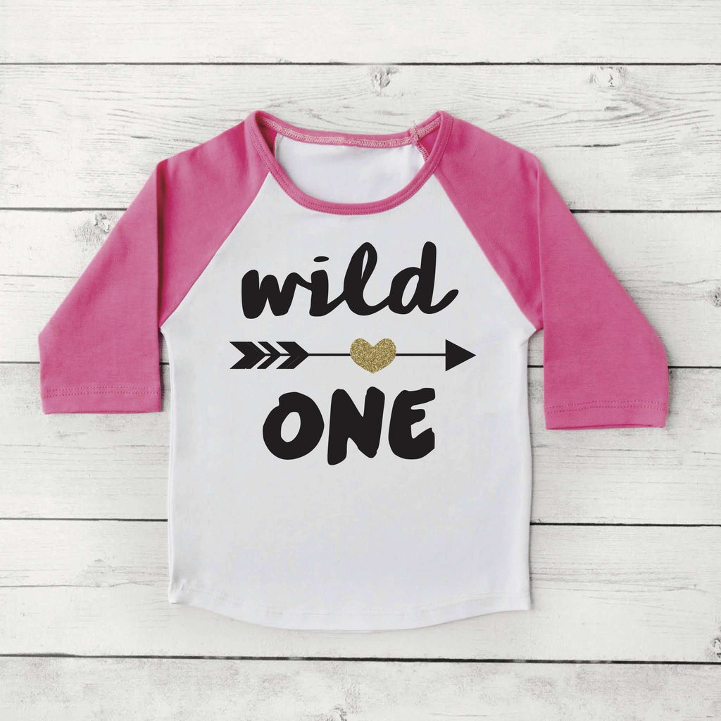 Wild One Girl First Birthday Shirt 1 Year Old Birthday Shirt Girl One Year Old Birthday Girl Outfit Raglan 1st Birthday Shirt 048 - Bump and Beyond Designs