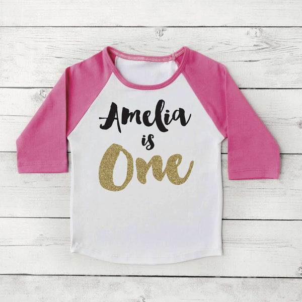 Girl First Birthday Outfit One Birthday Shirt PERSONALIZED One Year Old Girl Birthday Outfit First Birthday Girl Shirt Raglan 091 - Bump and Beyond Designs