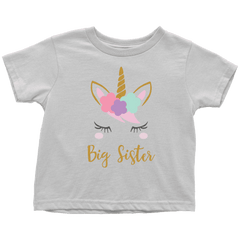 Unicorn Big Sister Shirt, Toddler Big Sister Shirt