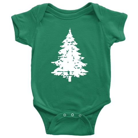 Baby Christmas Bodysuit, Distressed Infant Christmas Tree Shirt