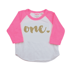 First Birthday Girl Shirt, One Year Old Birthday Raglan in Pink and Gold