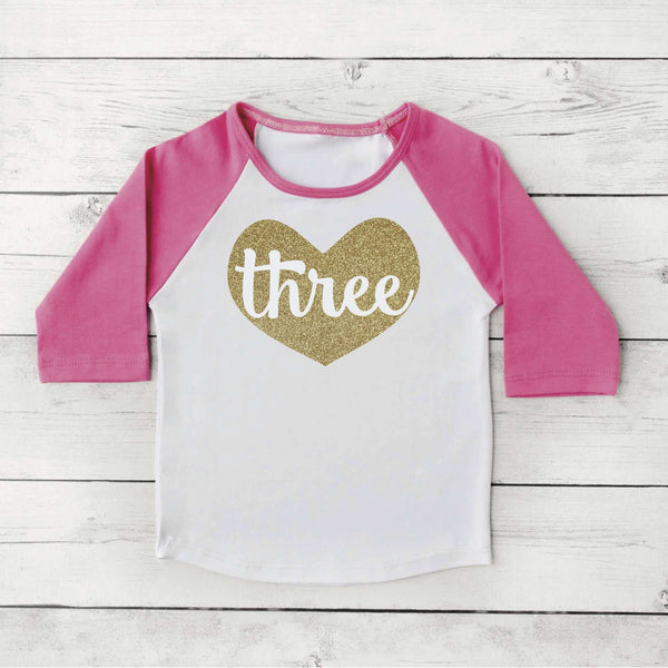 Three Year Old Birthday Outfit 3 Year Old Birthday Shirt Toddler Girl Raglan Shirt 3rd Birthday Shirt Glitter Gold Clothes 103 - Bump and Beyond Designs
