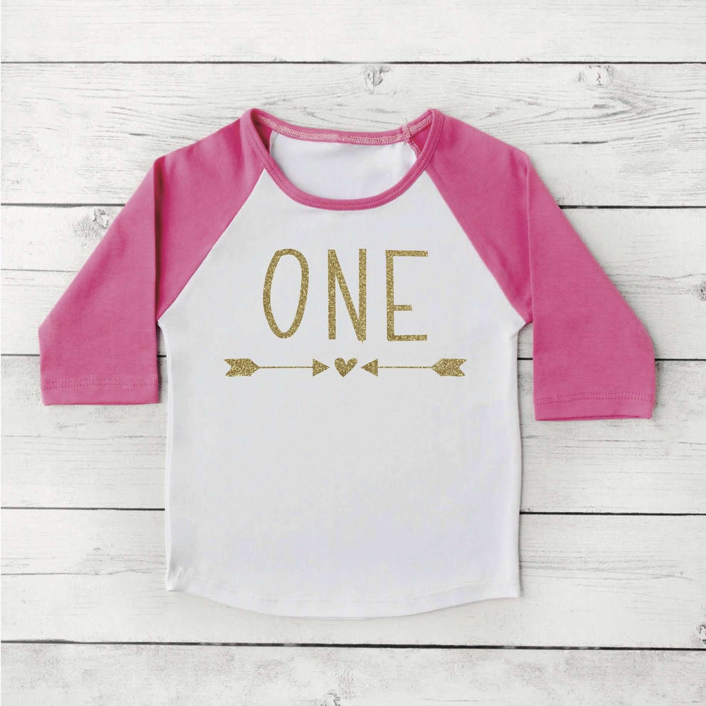 Girl First Birthday Shirt 1st Birthday Girl Outfit Raglan Toddler Girl Clothes 1st Birthday Shirt 133 - Bump and Beyond Designs