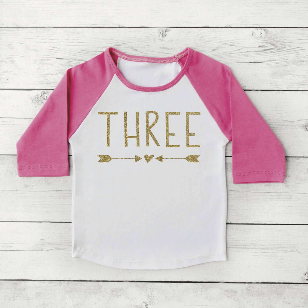 3rd Birthday Girl Shirt, Three, Gold Lettering - Bump and Beyond Designs