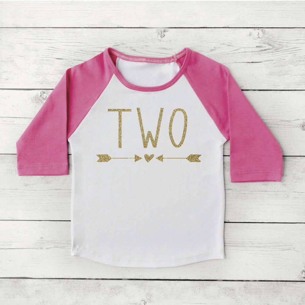 2nd Birthday Girl Shirt, Pink & Gold Lettering - Bump and Beyond Designs