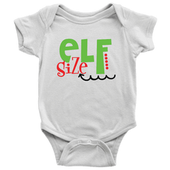 Elf Size, Funny Christmas Onesie, Baby First Christmas Outfit for Boys and Girls - Bump and Beyond Designs