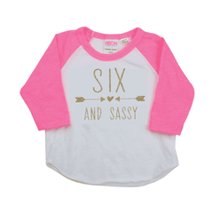 Six and Sassy Girl 6th Birthday Shirt Sixth Birthday Kids Birthday Shirt 6th Birthday Outfit Birthday Shirt 6 214 - Bump and Beyond Designs