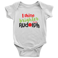 I Shine Brighter than Rudolph, First Christmas Onesie - Bump and Beyond Designs