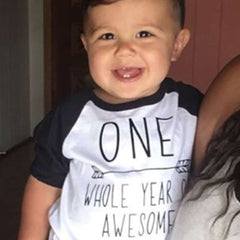 1st Birthday Boy Shirt - One Whole Year of Awesome