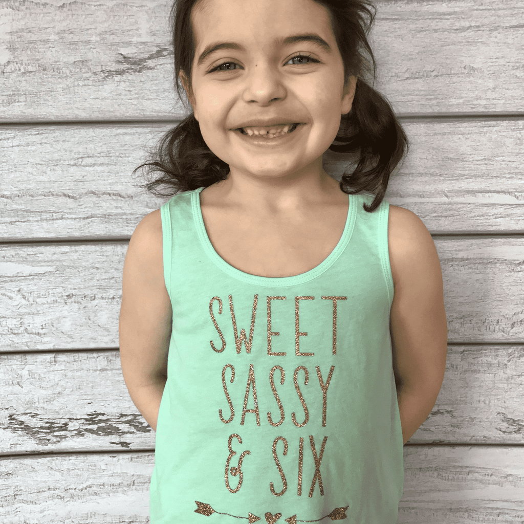 Sweet Sassy and Six- Birthday Girl Tank Top