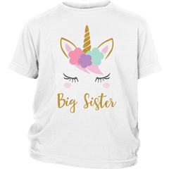 Girls Unicorn Big Sister T-Shirt, Unicorn Baby Shower Gift, Toddler Kids Youth Big Sister Outfit - Bump and Beyond Designs