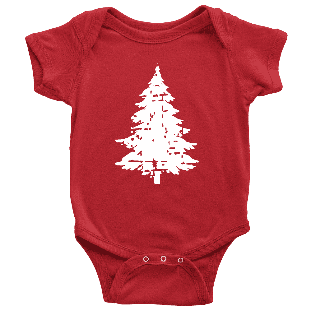 Baby Christmas Bodysuit, Distressed Infant Christmas Tree Shirt - Bump and Beyond Designs