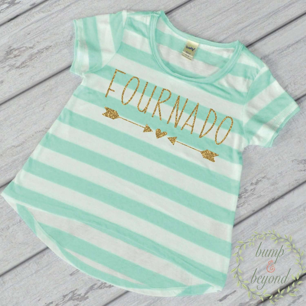 Fournado Fourth Birthday Girl Shirt Turquoise Stripes