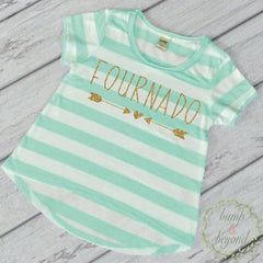Fournado Fourth Birthday Girl Shirt, Turquoise Stripes - Bump and Beyond Designs