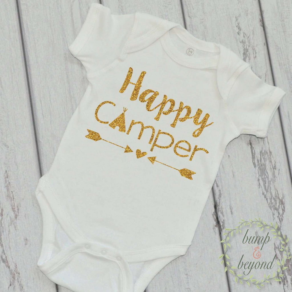 Happy Camper Shirt Camping Shirt Little Glamper Funny Baby Clothes Happy Camper T-Shirt Summer Baby Girl Shirt 221 - Bump and Beyond Designs