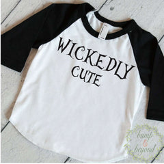 Girl Halloween Shirt Toddler Girl Halloween Outfit Wickedly Cute Halloween Clothes for Kids Children's Halloween Shirt 011 - Bump and Beyond Designs