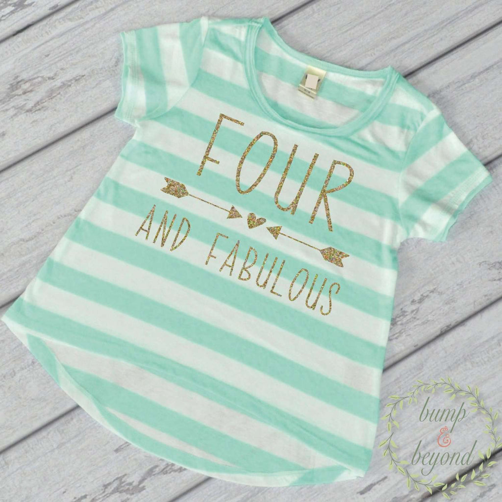 Kids Birthday Shirt Girl Fourth Birthday Shirt 4th Birthday Shirt Four and Fabulous Trendy Kids Clothes Toddler Style 182 - Bump and Beyond Designs