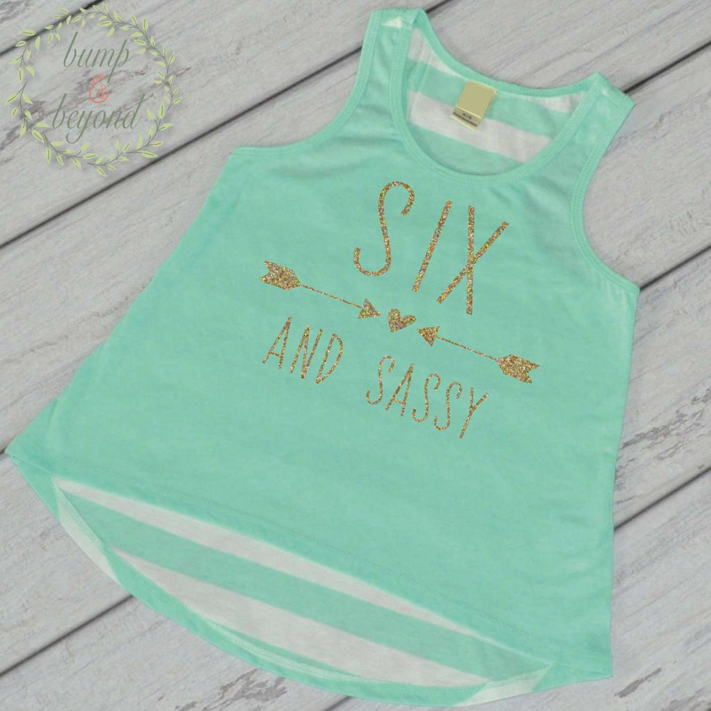 Six and Sassy Trendy Girl Clothes 6th Birthday Shirt Girl Six Year Old Birthday Shirt 6 Birthday Tank Top 214 - Bump and Beyond Designs