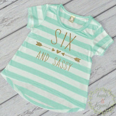 Six and Sassy Girl Sixth Birthday Shirt Girl Six Year Old Birthday Girl Outfit Six T-Shirt 6th Birthday Shirt Stylish Girl Clothes 214 - Bump and Beyond Designs