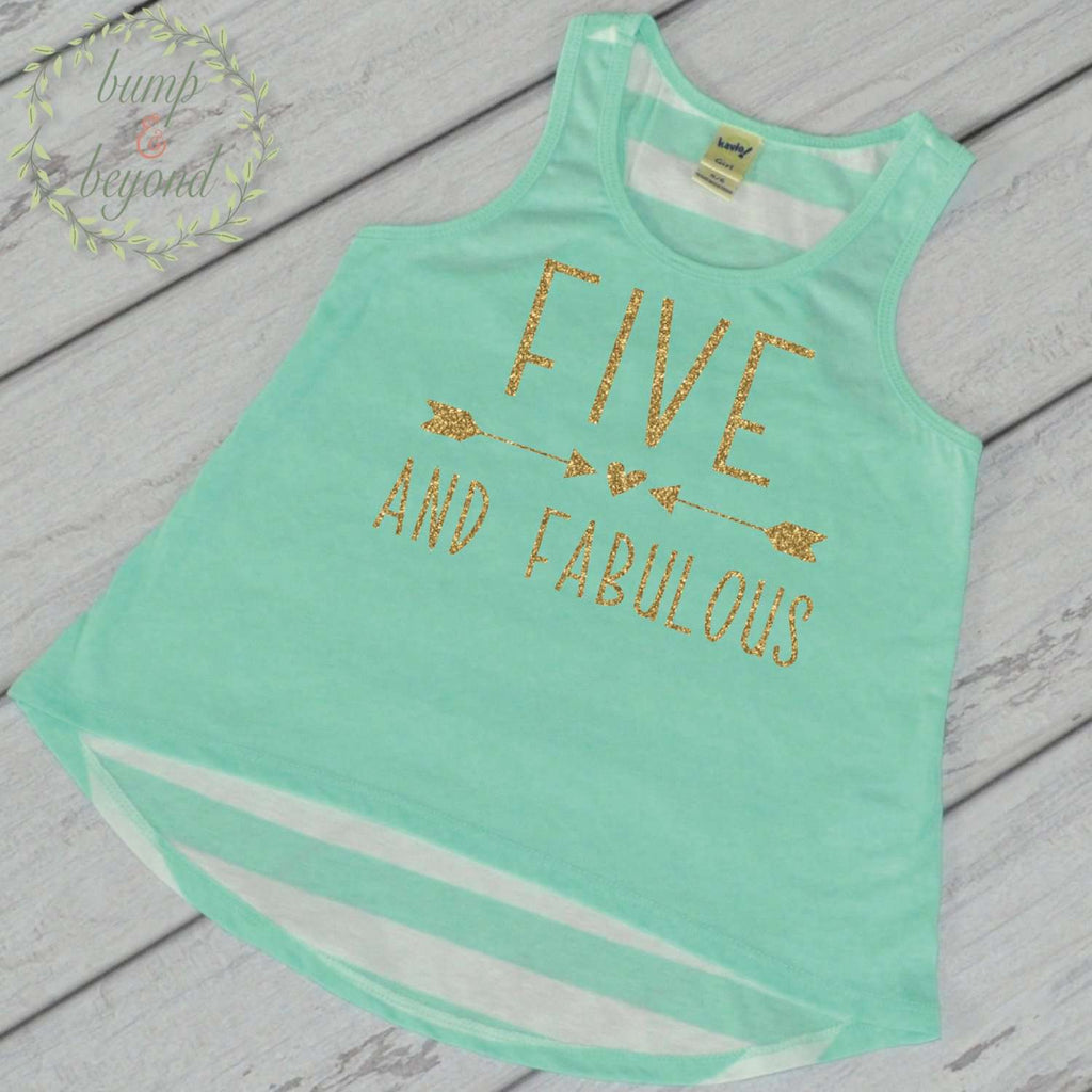 Five and Fabulous Kids Birthday Shirt Trendy Kids Clothes Girl 5th Birthday Shirt Birthday Girl Tank Top Fifth Birthday Shirt 193 - Bump and Beyond Designs
