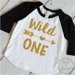 Wild One Baby Girl Shirt, Glitter Lettering - Bump and Beyond Designs