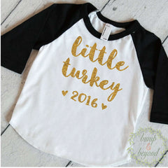 My First Thanksgiving Outfit, Baby Thanksgiving Outfit, Baby Girl Thanksgiving Outfit, Thanksgiving Baby Girl Little Turkey Shirt 019 - Bump and Beyond Designs