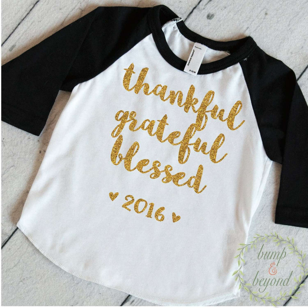 Thanksgiving Baby Girl, Thanksgiving Outfit, First Thanksgiving Outfit Girl, Thankful Grateful Blessed, Thanksgiving Shirt 021 - Bump and Beyond Designs
