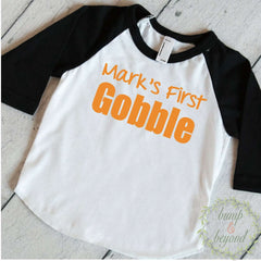 First Thanksgiving Boy, My First Thanksgiving Boy, Personalized Thanksgiving Shirt, Baby Thanksgiving Outfit, Baby Thanksgiving Outfit 032 - Bump and Beyond Designs