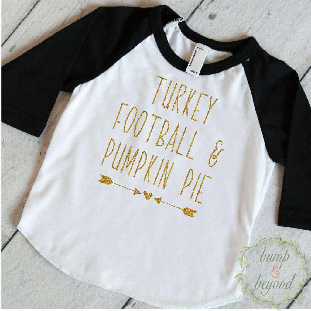 Thanksgiving Girl Outfit, Turkey Football and Pumpkin Pie, Thanksgiving Shirt, Glitter Shirt, Baby Girl Turkey Football Pie Fall Outfit 037 - Bump and Beyond Designs