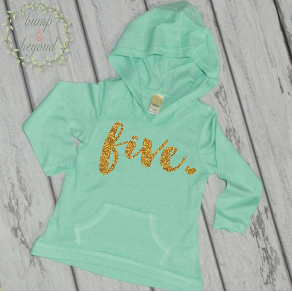 Fifth Birthday Girl Hoodie, Gold Lettering - Bump and Beyond Designs