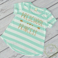Preschool Princess Shirt, Turquoise Stripes - Bump and Beyond Designs