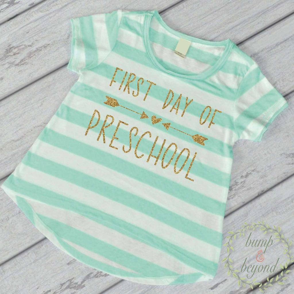 First Day of Preschool Shirt, Turquoise Stripes - Bump and Beyond Designs