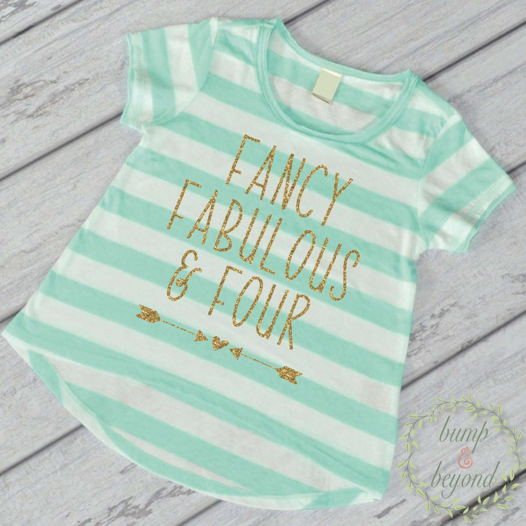 Fancy Fabulous and Four 4th Birthday Outfit Girl 4th Birthday Shirt Four and Fabulous Shirt Fourth Birthday Shirt Four Year Old Shirt 246 - Bump and Beyond Designs