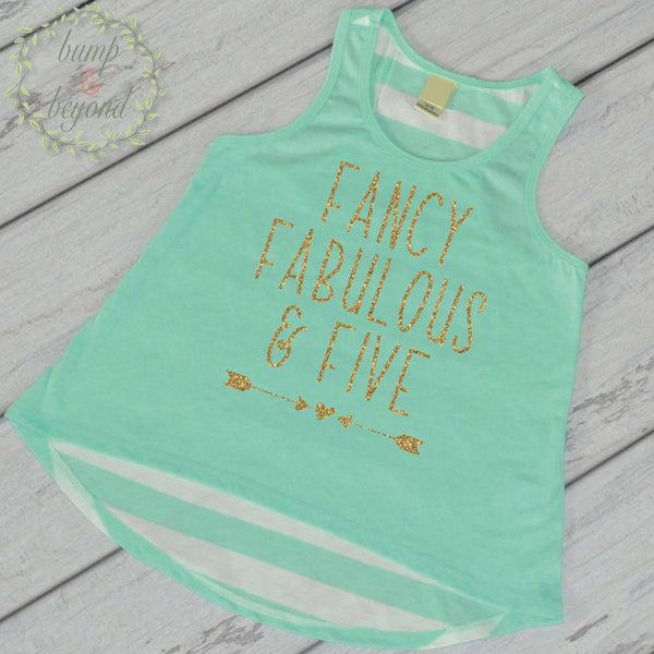 5th Birthday Shirt Fancy Fabulous and Five 5th Birthday Outfit Girl Fifth Birthday Shirt Girl 5th Birthday Tank Top 247 - Bump and Beyond Designs