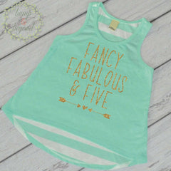 Fifth Birthday Girl Tank Top, Fancy, Fabulous & Five - Bump and Beyond Designs