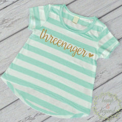 Threenager 3rd Birthday Girl Shirt, Turquoise Stripes - Bump and Beyond Designs