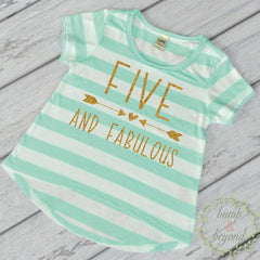 Fifth Birthday Outfit Girl Five Year Old Girl Birthday Shirt 5th Birthday Girl Outfit Green T-Shirt 193 - Bump and Beyond Designs